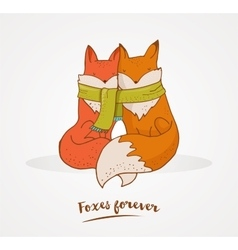 Fox cute greetin card Valentines day vector image