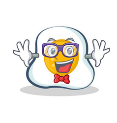 Geek fried egg character cartoon vector