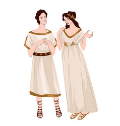 Greek man and woman wearing traditional clothes vector