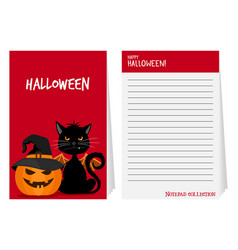 halloween notepad with black cat and pumpkin vector image