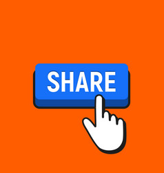 hand mouse cursor clicks the share button vector image