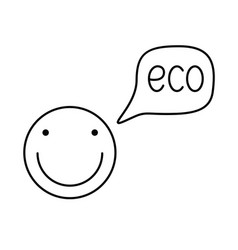 happy face with speech bubble icon eco smile vector image