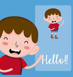 Hello boy card vector