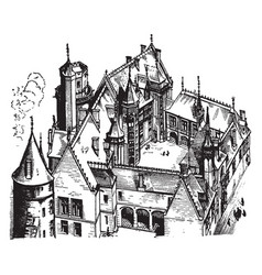 Hotel jacques coeur bourges vintage engraving vector