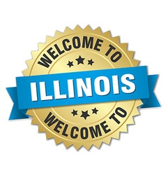 Illinois 3d gold badge with blue ribbon vector