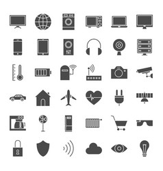 Iot solid web icons vector