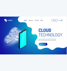 isometric cloud technology landing vector image