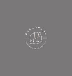 Jh letter feminine logo design vector