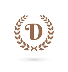 Letter d laurel wreath logo icon vector