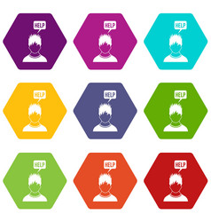 man needs help icon set color hexahedron vector image