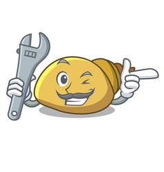 Mechanic mollusk shell mascot cartoon vector