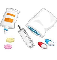 Medical Set Syringe Medicine Pill Capsule Iv Drip vector image