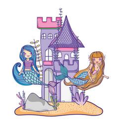 mermaids at castle vector image