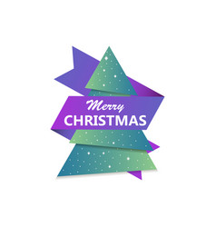 merry christmas greeting card christmas tree with vector image