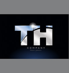 metal blue alphabet letter th t h logo company vector image