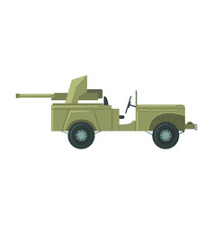 Military car with an artillery cannon military vector