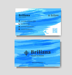 minimalist business card with blue brush vector image