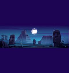 Moai statues and pyramids at night famous landmark vector