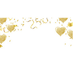 party big gold heart metallic balloon for vector image