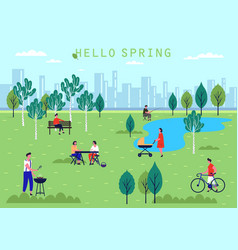 people activity at spring parkholiday and leisure vector image