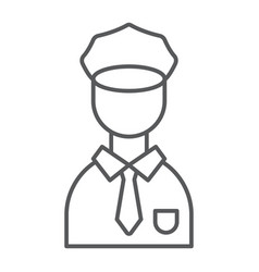 policeman thin line icon police and person vector image