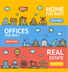 Real estate flyer banner posters card set vector