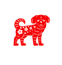 red chinese dog on the white background vector image