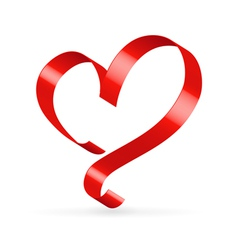 Red satin ribbon heart vector image