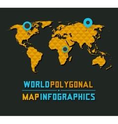 Retro polygonal world map vector image