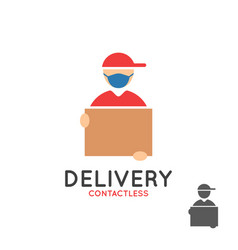 safe delivery logo courier with face mask vector image