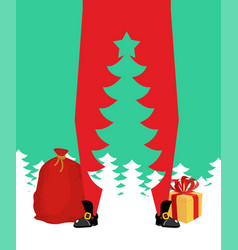 santa claus and christmas tree high santa and vector image