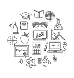 School and education outline icons set vector
