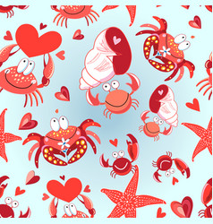seamless bright pattern loving crabs vector image