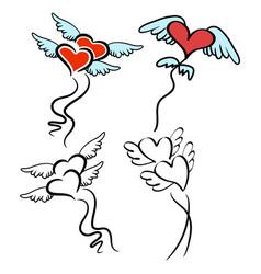set heart wing balloon clip art vector image