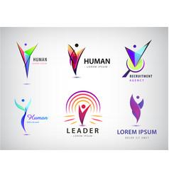 set human man logos icons e vector image