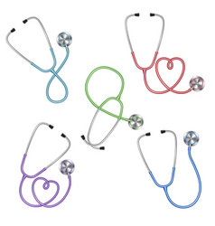 set of different color stethoscopes icon medical vector image