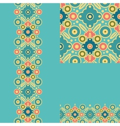 Set of geometric seamless pattern and borders vector