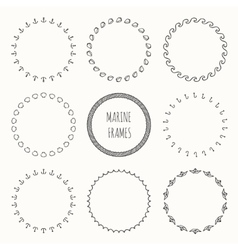 Set of hand drawn nautical hipster pattern Wreath vector