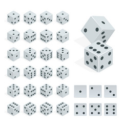 Set of isometric dice combination white poker vector