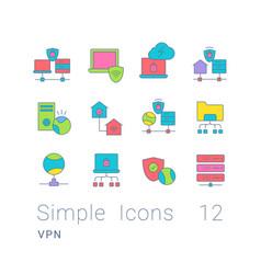 set simple line icons vpn vector image