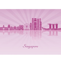 Singapore V2 skyline in purple radiant orchid vector image