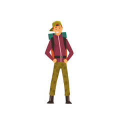 Smiling young man with backpack outdoor vector