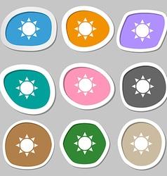 Sun symbols Multicolored paper stickers vector