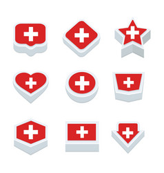 switzerland flags icons and button set nine styles vector image