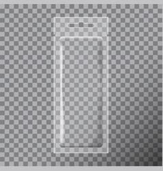 Transparent foil bag packaging for food snack vector