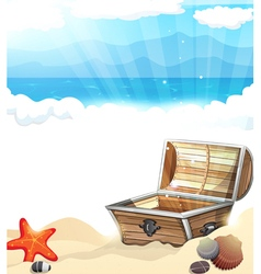 Treasure Chest on the sand vector image