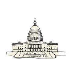 usa capitol building in washington hand drawn icon vector image