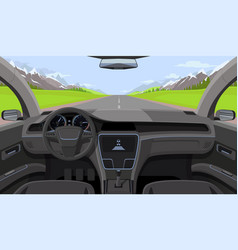 Vehicle salon inside car driver view with rudder vector