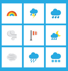 weather icons flat style set with shower blizzard vector image