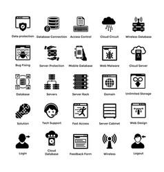 Web hosting glyph icon designs 2 vector